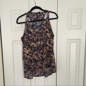 NWOT JCPenney, Blue/peach Speckled blouse tank